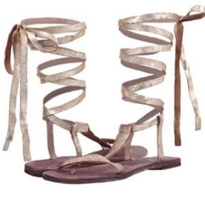 Free People Gold Dahlia Lace Up Sandal
